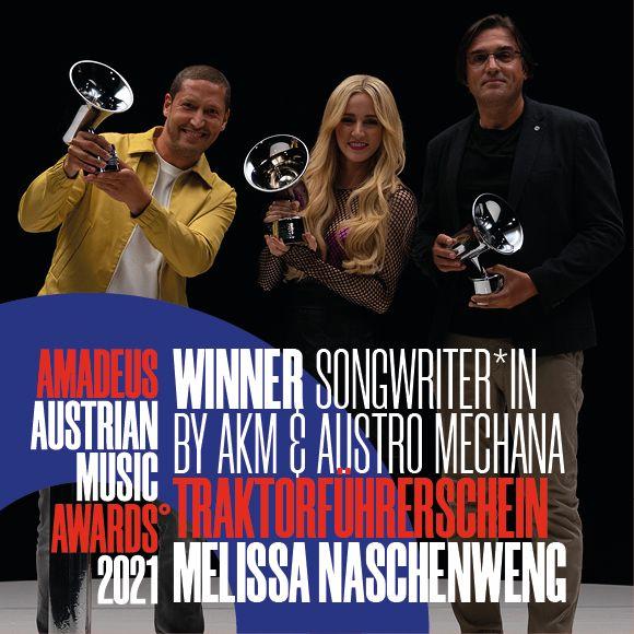 Hubert Molander, Melissa Naschenweng und Emanuel Treu erhalten den Amadeus in der Kategorie Songwriter des Jahres (c) Julian Schmidt